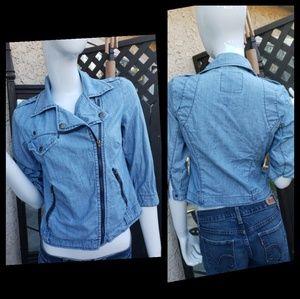 AMERICAN EAGLE Jean Moto Jacket - Small